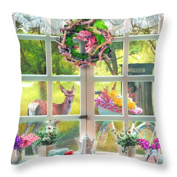 Country Cottage Painting Throw Pillow