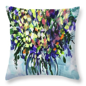Country Flowers Bouquet Floral Impressionism  Throw Pillow