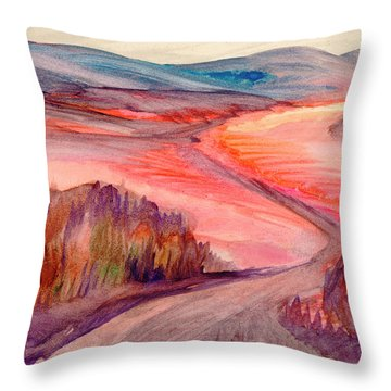 Throw Pillow featuring the painting Country Road by Dobrotsvet Art