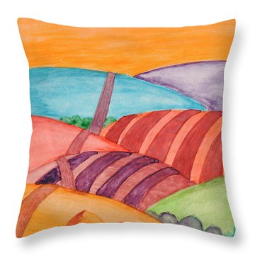 Throw Pillow featuring the painting Countryside by Dobrotsvet Art