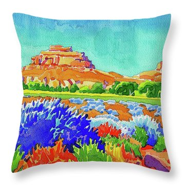 Throw Pillow featuring the painting Courthouse And Jail Watercolor by Dan Miller