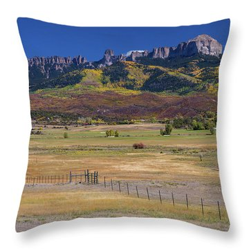 Throw Pillow featuring the photograph Courthouse Mountains And Chimney Rock Peak by James BO Insogna