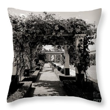 Courtyard Landscape Bw Getty Villa  Throw Pillow