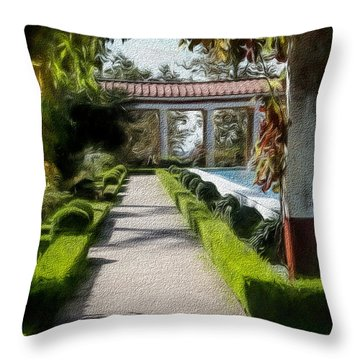 Painted Texture Courtyard Landscape Getty Villa California  Throw Pillow