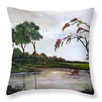 Cow Haven Throw Pillow