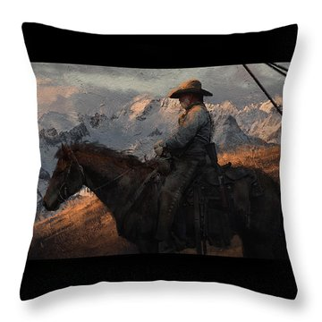 Cowboy American Painting Throw Pillow