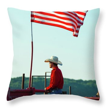 Throw Pillow featuring the photograph Cowboy And American Flag by Dennis Dame