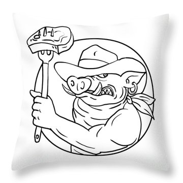Cowboy Wild Pig Holding Barbecue Steak Drawing Black And White Throw Pillow