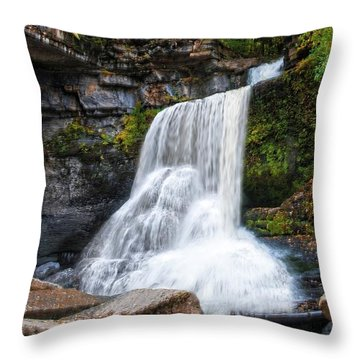 Throw Pillow featuring the photograph Cowshed Falls At Watkins Glen State Park - Finger Lakes, New York by Lynn Bauer