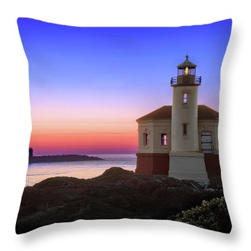 Crab Boat At The Bandon Lighthouse Throw Pillow