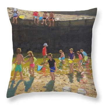 Crabbing In The Harbour, Bude, Cornwall Throw Pillow