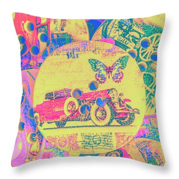 Crafty Car Commercial Throw Pillow