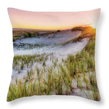 Throw Pillow featuring the photograph Crane Beach, Dune Grass Sunrise  by Michael Hubley