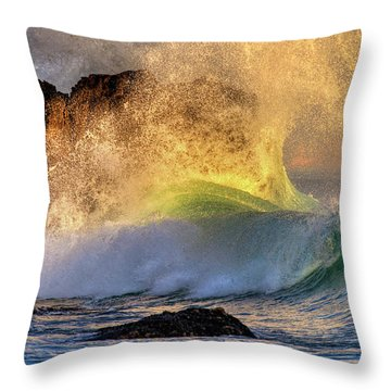 Crashing Wave Leo Carrillo Beach Throw Pillow