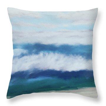 Crashing Waves 2- Art By Linda Woods Throw Pillow