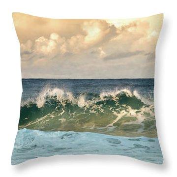Crashing Waves And Cloudy Sky Throw Pillow