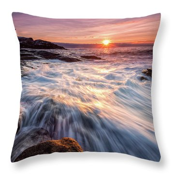 Crashing Waves At Sunrise, Nubble Light.  Throw Pillow