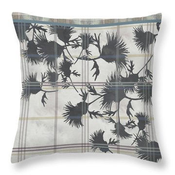 Cream Thistle Plaid Contrast Border Throw Pillow