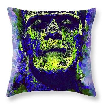 Frankenstein Watercolor Throw Pillow