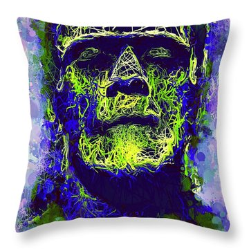 Frankenstein Watercolor Throw Pillow