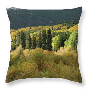 Throw Pillow featuring the photograph Crested Butte Colorado Fall Colors Panorama - 1 by OLena Art Brand
