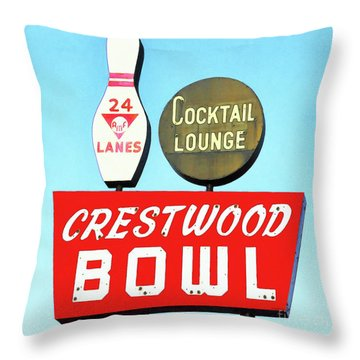 Throw Pillow featuring the photograph Crestwood Bowl Bowling Alley 20190105 Square by Wingsdomain Art and Photography