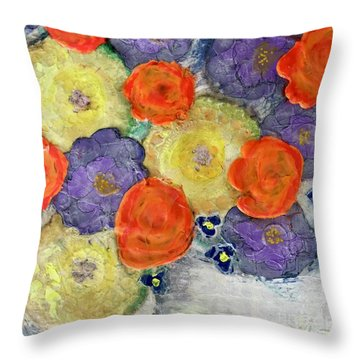 Crochet Bouquet Throw Pillow