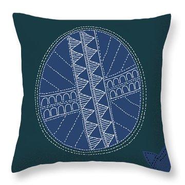 Throw Pillow featuring the digital art Crocodile Egg by Attila Meszlenyi