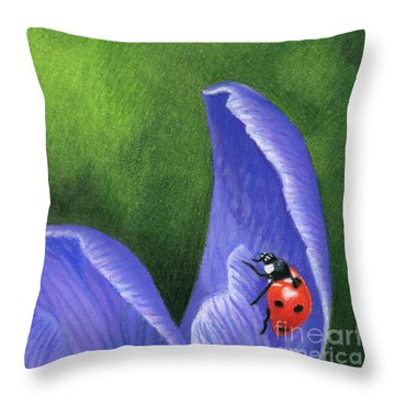 Crocus And Ladybug Detail Throw Pillow