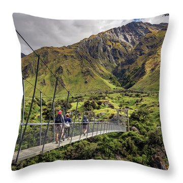 Crossing The River In New Zealand Throw Pillow