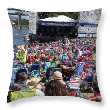 Crowd Enjoys Listening On A Sunny Day  Throw Pillow
