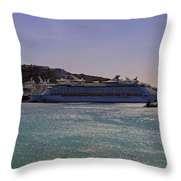 Throw Pillow featuring the photograph Cruise Ships by Tony Murtagh