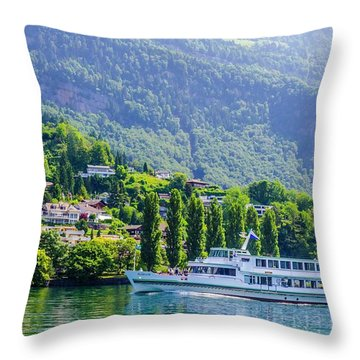 Cruising Lake Lucerne Throw Pillow