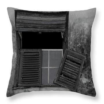 Crumblling Window Throw Pillow