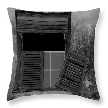 Crumblling Window Throw Pillow