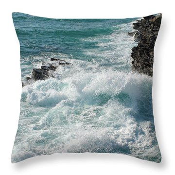 Crushing Waves In Porto Covo Throw Pillow