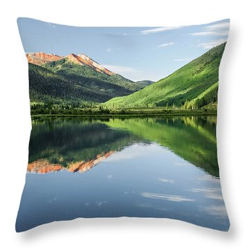 Crystal Lake Red Mountain Reflection Throw Pillow