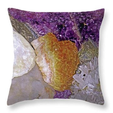 Throw Pillow featuring the mixed media Crystal Stand 14  by Lynda Lehmann