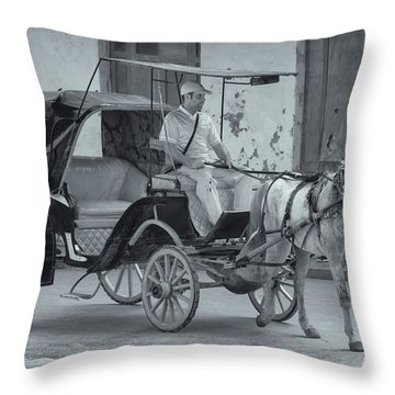Cuban Horse Taxi Throw Pillow