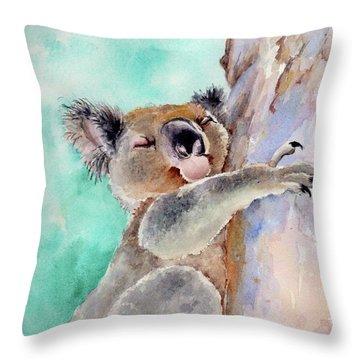 Cuddly Koala Watercolor Painting Throw Pillow