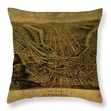 Cumberland Maryland Vintage City Street Map 1906 Throw Pillow