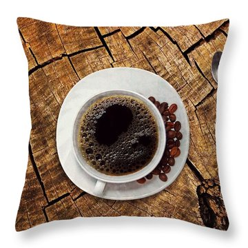 Cup Of Coffe On Wood Throw Pillow