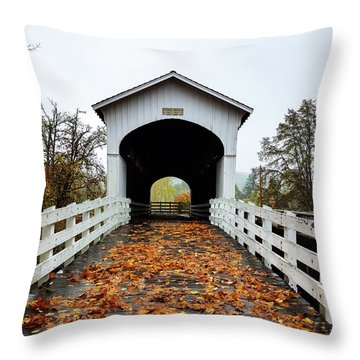 Throw Pillow featuring the photograph Curin Covered Bridge 1 by Lara Ellis