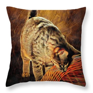 Curiosity And The Cat Throw Pillow