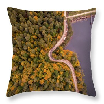 Curved Road At Lakeside Throw Pillow
