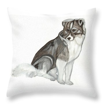 Throw Pillow featuring the painting Cute Fluffy Dog by Dobrotsvet Art