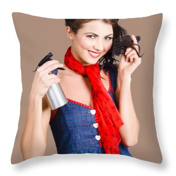 Cute Girl Model Styling A Hairdo. Pinup Your Hair Throw Pillow