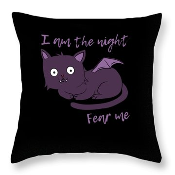Cute Halloween Cat I Am The Night Fear Me Throw Pillow