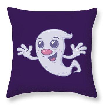 Cute Retro Ghost Throw Pillow
