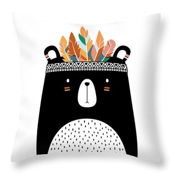 Cute Tribal Bear - Boho Chic Ethnic Nursery Art Poster Print Throw Pillow